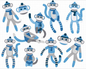 Sock Monkey Party Sticker Clipart   Free Clip Art Images