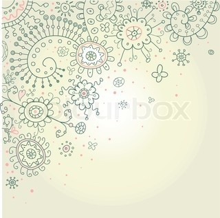 Vector Of  Hand Drawn Abstract Henna Doodles And Flowers Vector