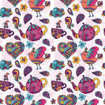 Vector Seamless Pattern With Doodle Elements Birds Cups Flowers Hearts