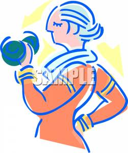 An Elderly Woman Lifting Weights Clipart Image
