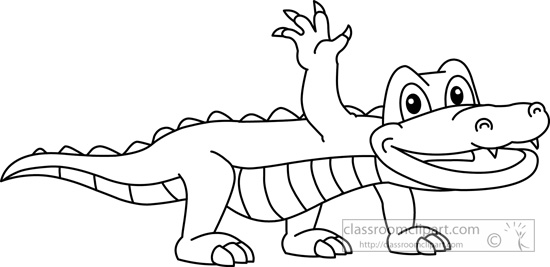 Animals   Alligator Black White Outline 910   Classroom Clipart