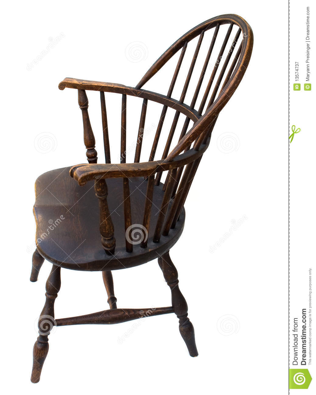 Antique Windsor Chair Side View Isolated Royalty Free Stock
