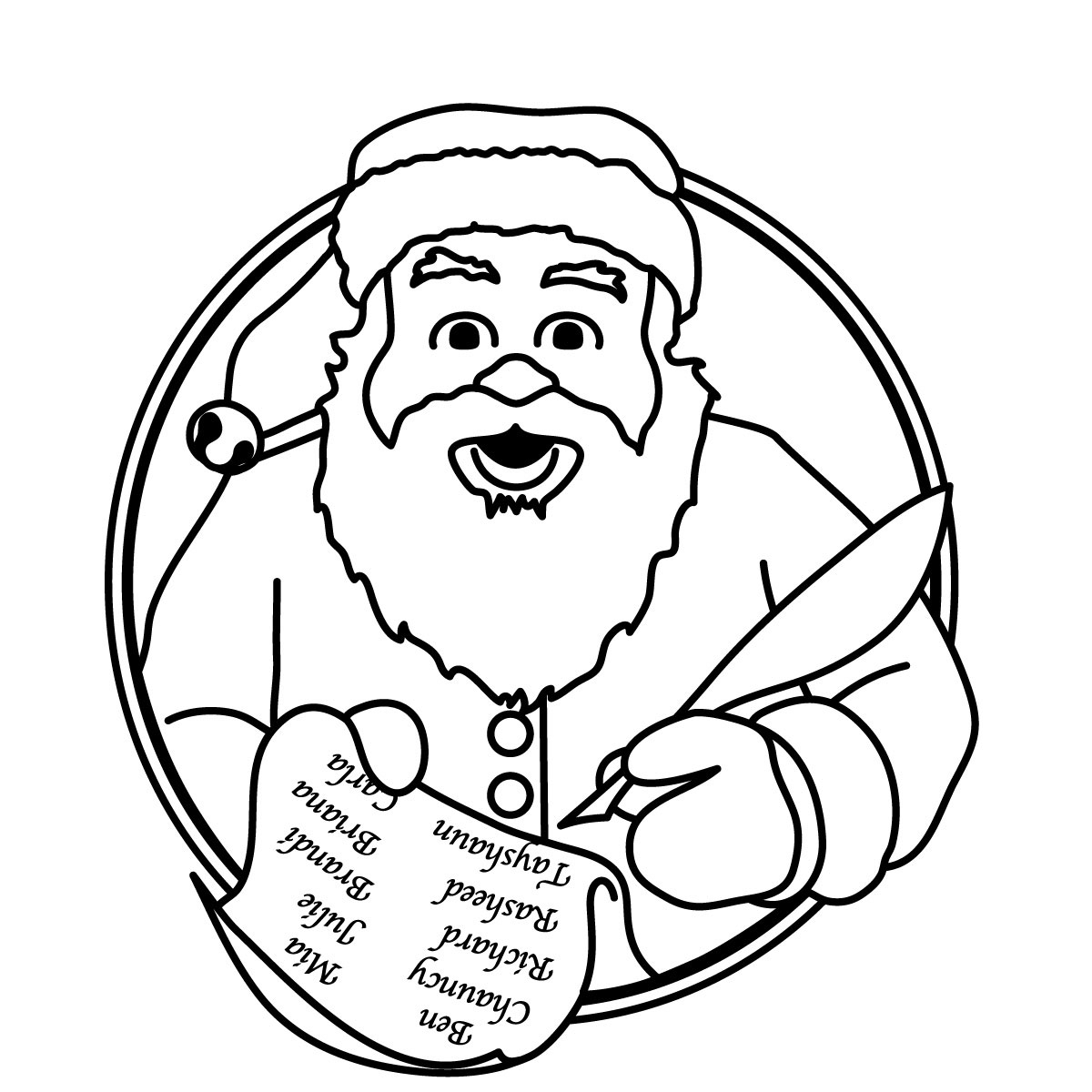 Black And Whitesanta Color In Clipart Christmas Black And White