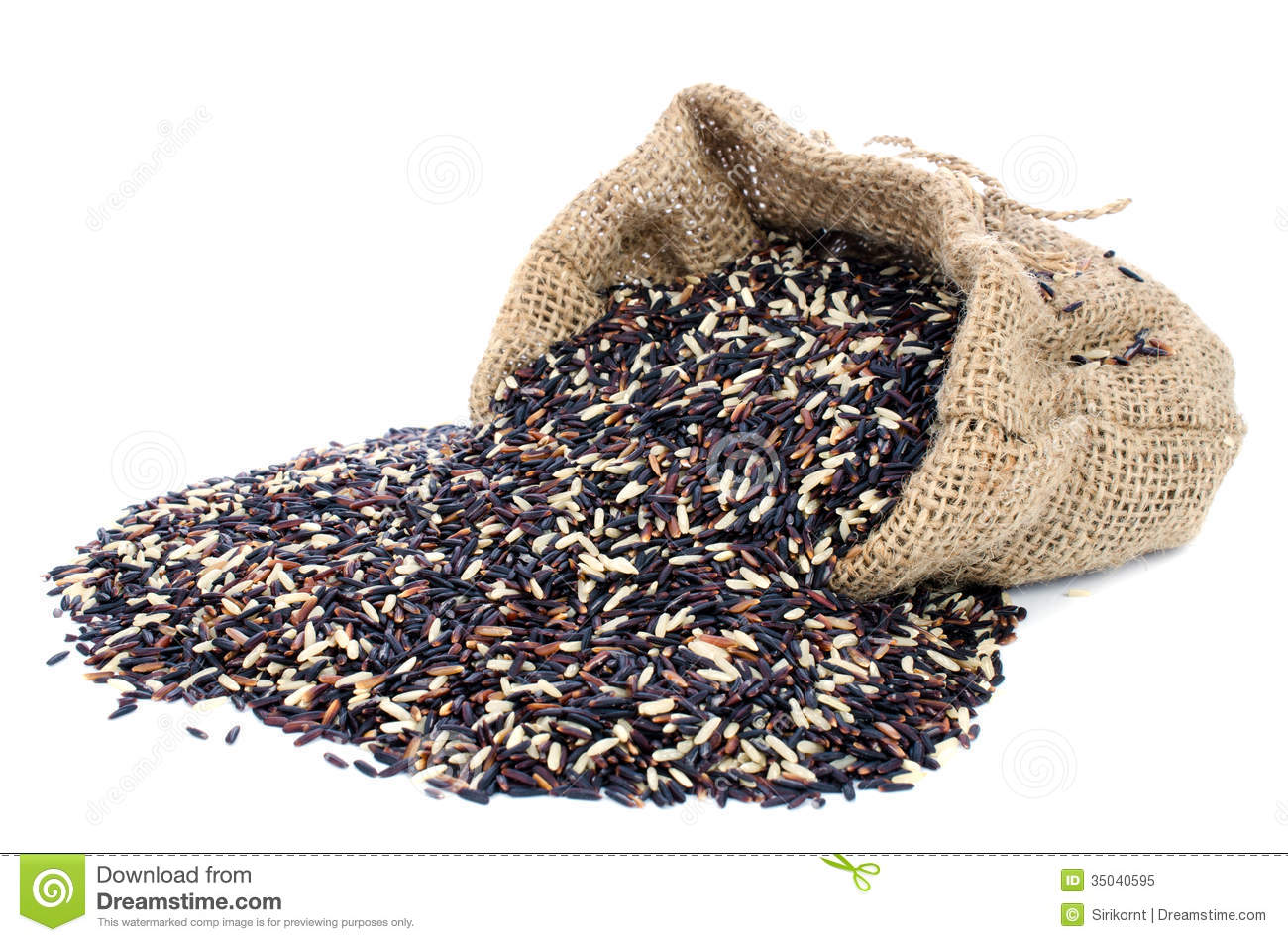 Black Pile Rice In Gunny Bag With White Isolate Background Royalty