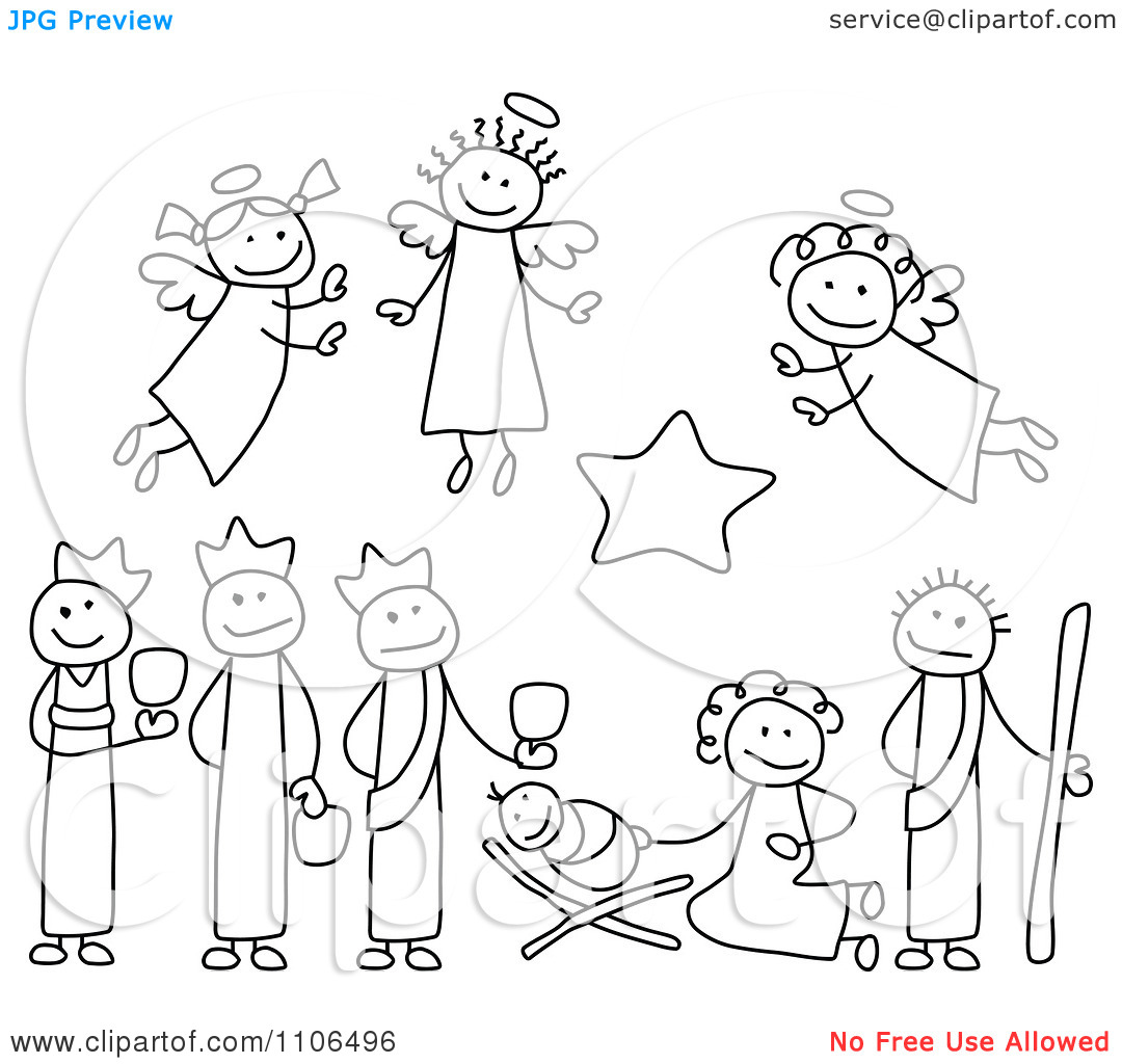 black and white christmas nativity clipart clipart suggest