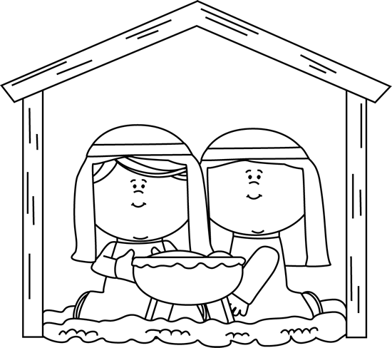 Nativity Black And White Clipart - Clipart Suggest