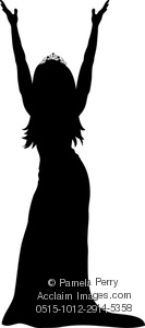 Clip Art Image Of Silhouette Of A Beauty Pageant Winner   Acclaim