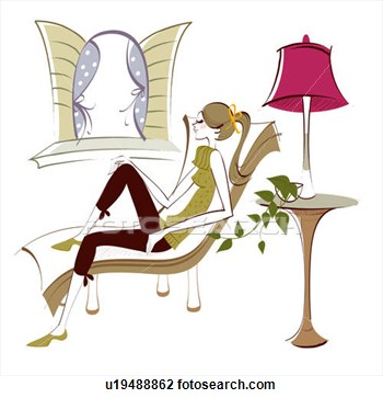 Clip Art Of Side Profile Of A Woman Sitting On A Reclining Chair