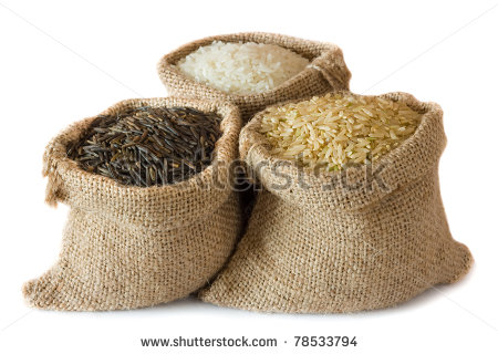 Clipart Bag Of Rice Three Kinds Of Rice In Small