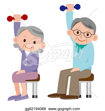 Clipart   Exercising Senior  Stock Illustration Gg62194068