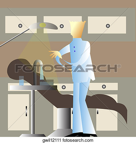 Clipart   Side Profile Of A Male Dentist Standing Near The Dentist S