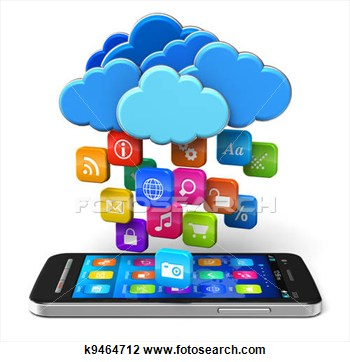 Cloud Computing And Mobility Concept  Touchscreen Smartphone And Blue