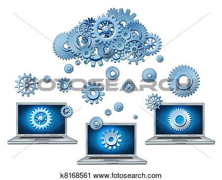 Cloud Computing Symbol Represented By A Cloud Made Of Gears And Cogs