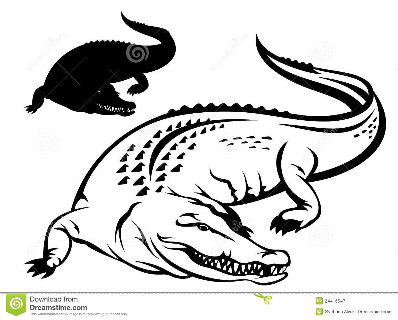 Crocodile Illustration   Black And White Outline And Silhouette