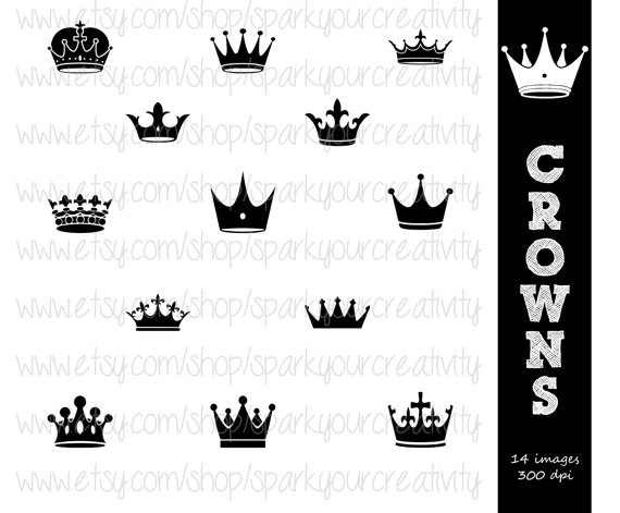 Crown Tiara Silhouettes    Commerical Use Silhouette    Scrapbooking
