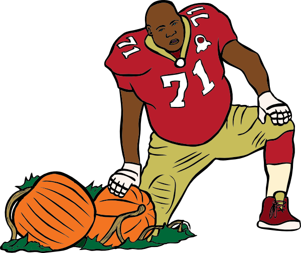 Football Player With Pumpkin Clip Art At Clker Com   Vector Clip Art