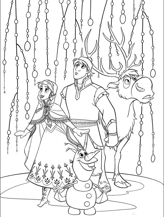 Frozen Elsa Olaf Woods Coloring Page