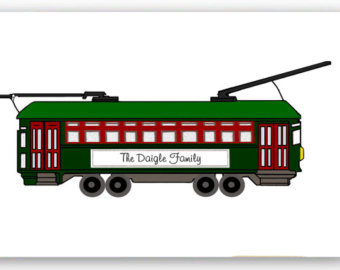 Graphics   Nola Streetcar   Custom Name    10  5x6 5 Inch Folded Cards