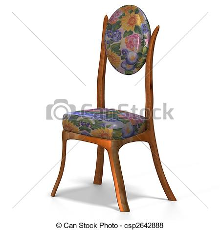 Illustration Of Classical Chair   Half Side View   Traditional Chair