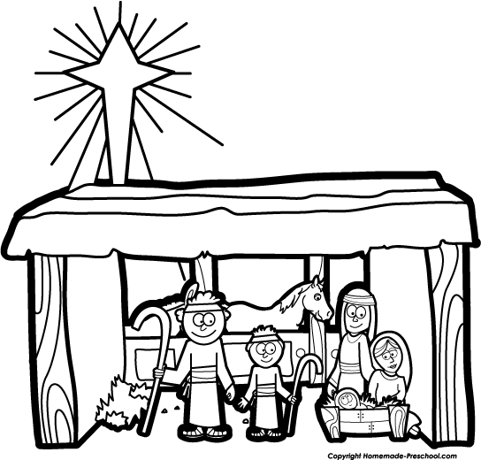 christmas nativity clipart black and white free - photo #19
