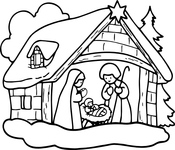 Black And White Christmas Nativity Clipart - Clipart Kid