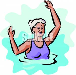 Older Woman In A Swimming Pool   Royalty Free Clipart Picture