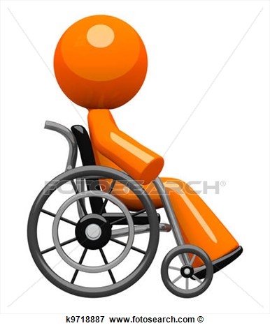 Orange Man In Wheel Chair Side View View Large Illustration