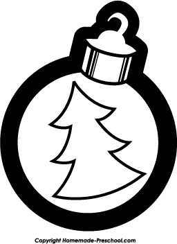 Ornament Clipart Black And White Christmas Tree Ornament Bw Png