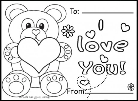 Printable Valentines Day Cards Teddy Bears Coloring Pages   Printable