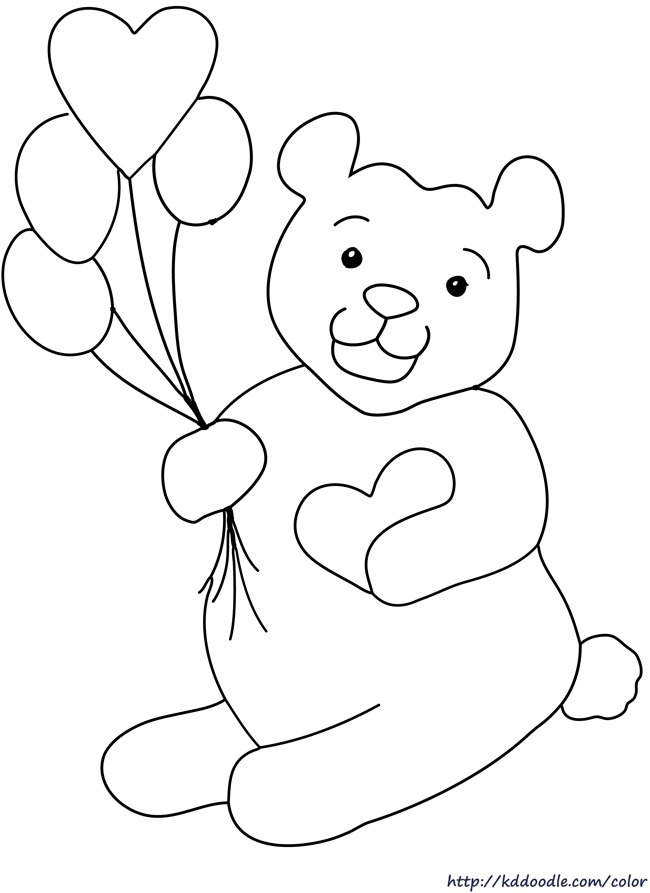 Printable valentine bear clipart clipart suggest for Valentine bear coloring pages