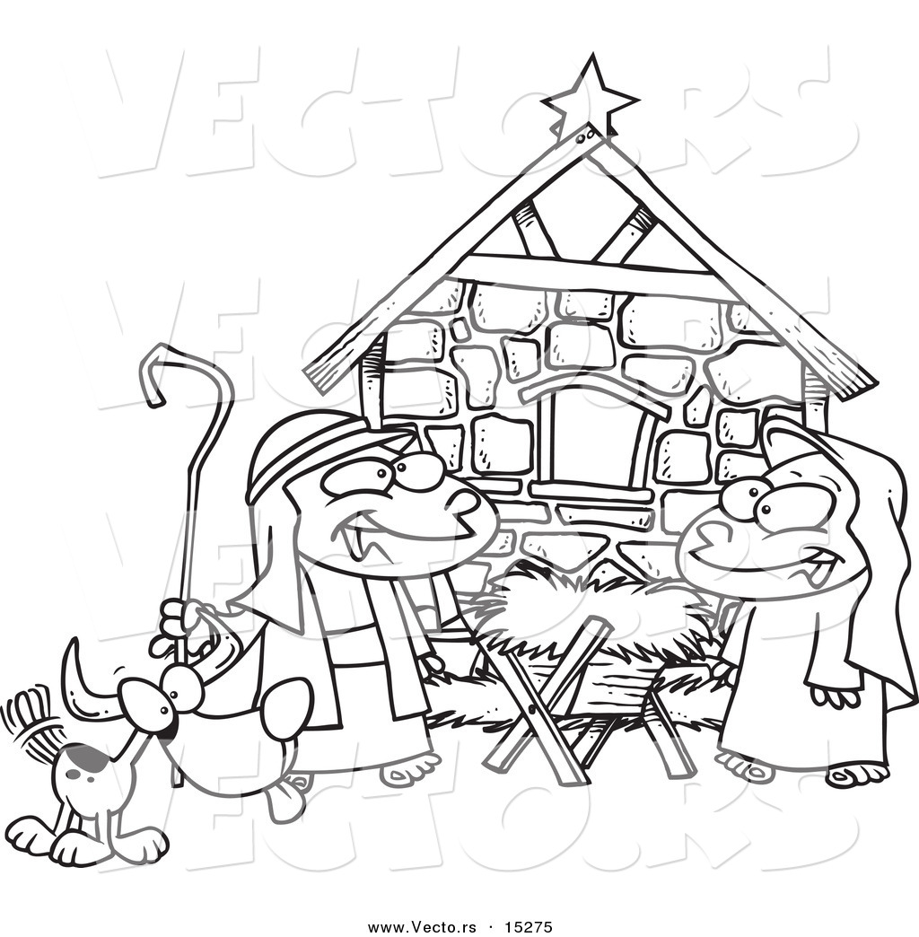 Nativity Black And White Clipart - Clipart Kid
