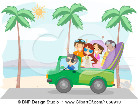 1068918 Clipart Summer Friends Driving On A Beach Royalty Free Vector