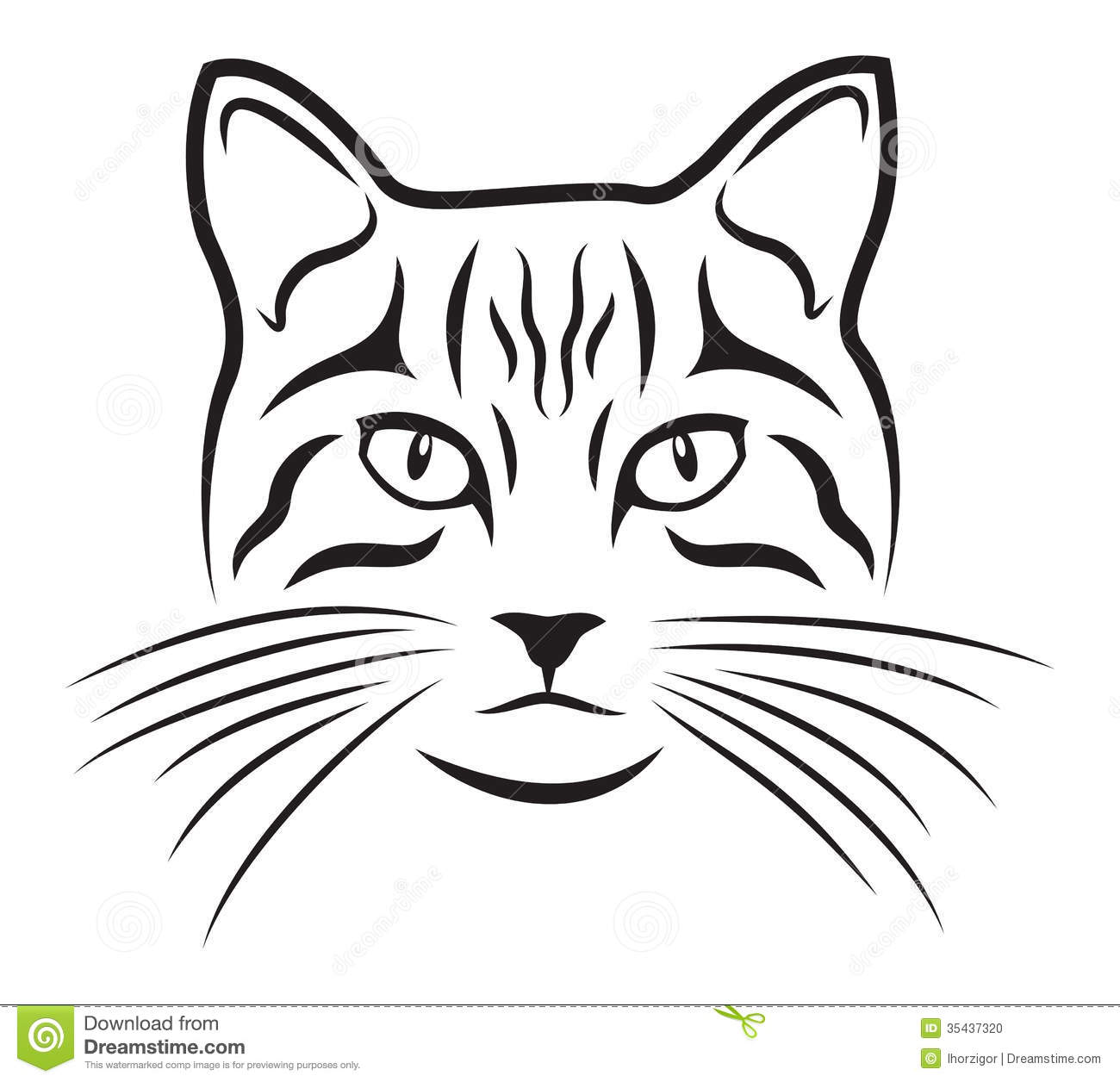 Black Silhouette Of Cat On White Background
