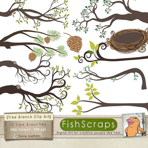 Branch Silhouettes Leaves   Branch Clipart Tree Branch Image   Bird
