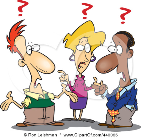 Clip Art Illustration Of A Cartoon Group Of Confused Business People