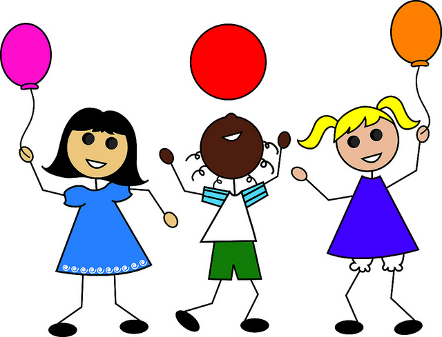 Clip Art Illustration Of Cartoon Kids With Balloons   Flickr   Photo