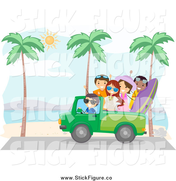 Clip Art Of A Summer Friends Driving A Truck On A Beach By Bnp Design