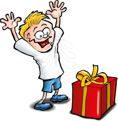 Clipart Cartoon Of Excited Kid Receiving A Gift Isolated Clipart