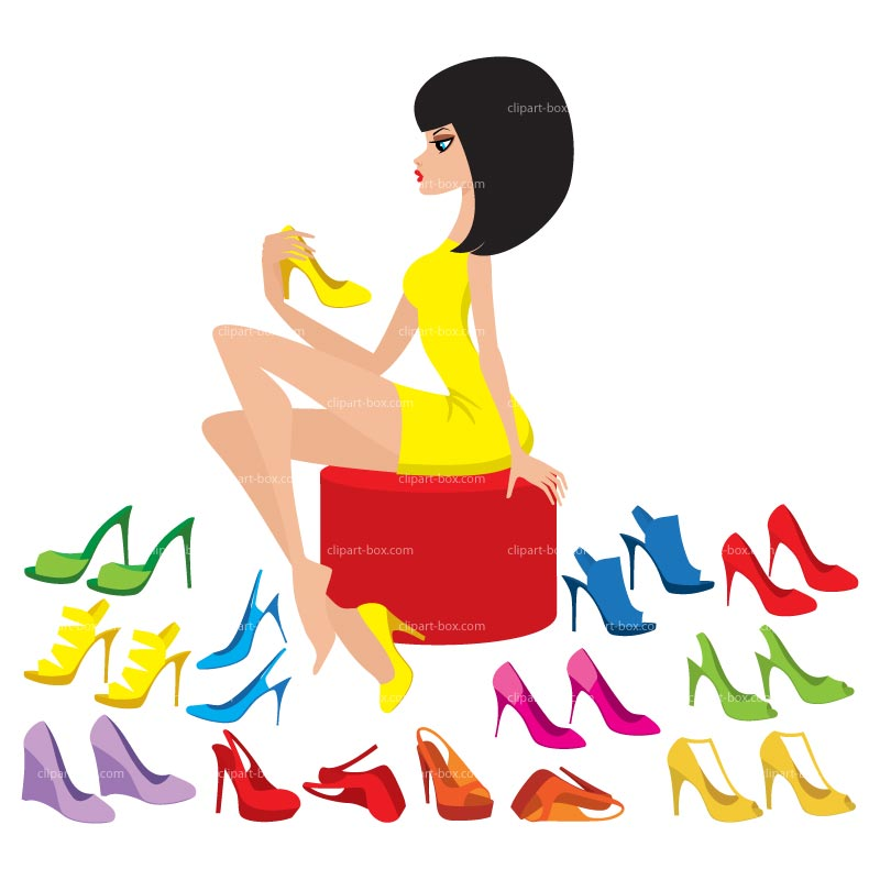 Clipart Shoe Shopping Girl   Royalty Free Vector Design