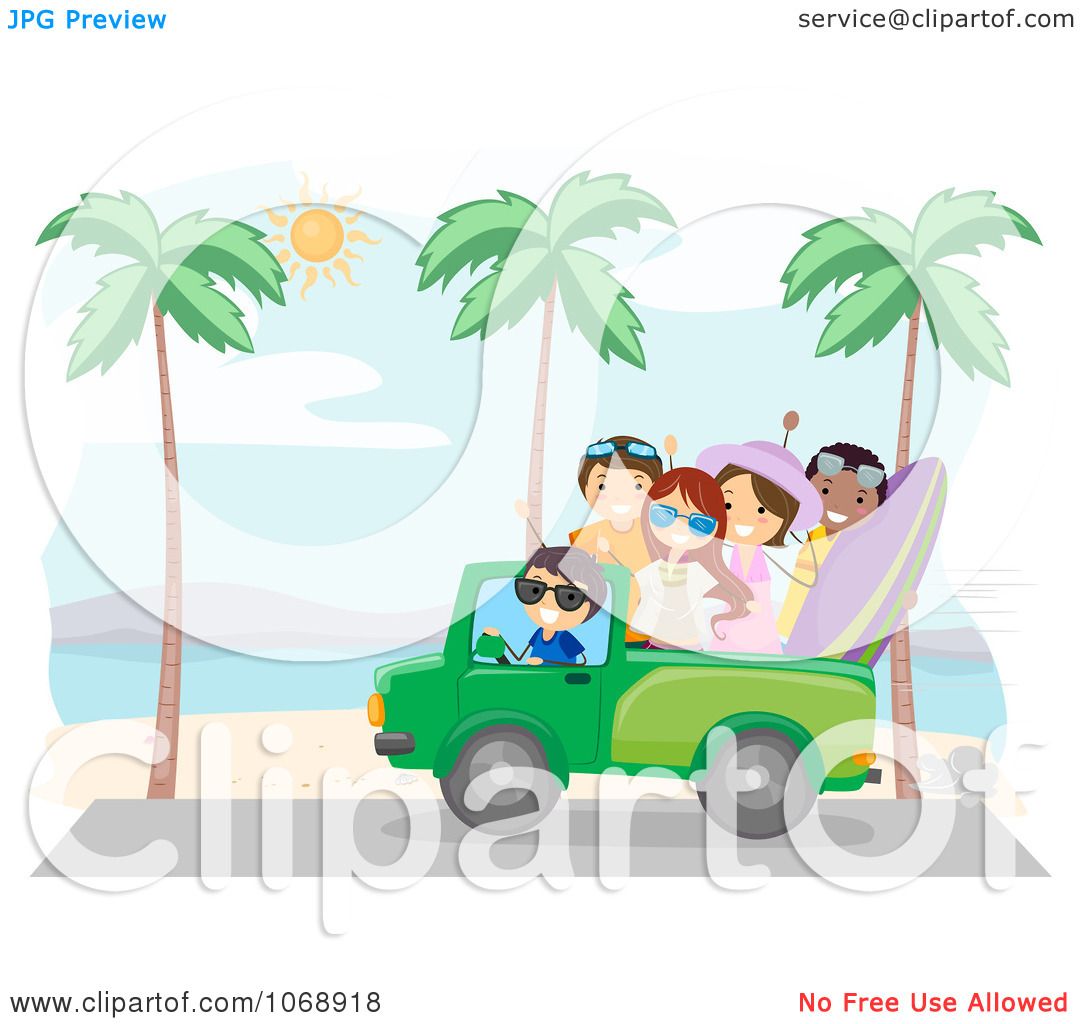 Clipart Summer Friends Driving On A Beach   Royalty Free Vector