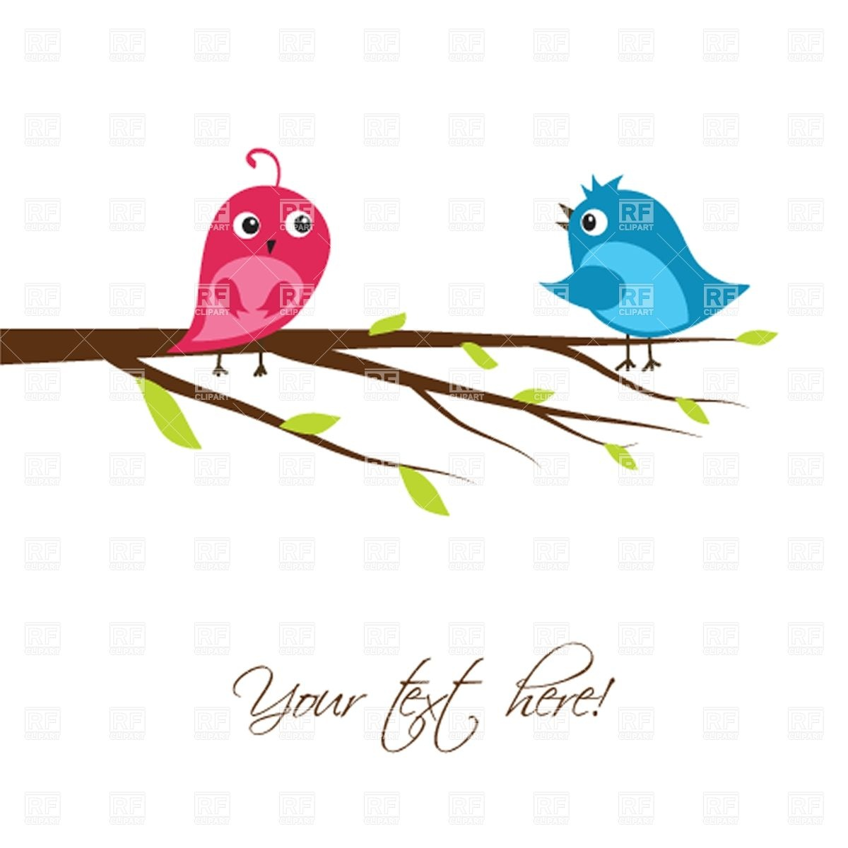 Couple Of Cute Birds On The Tree Branch Plants And Animals Download