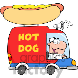 Free Rf Clipart Illustration Happy Hot Dog Vendor Driving Truck