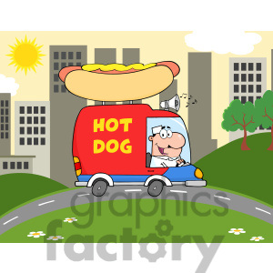 Royalty Free Rf Clipart Illustration Happy Hot Dog Vendor Driving