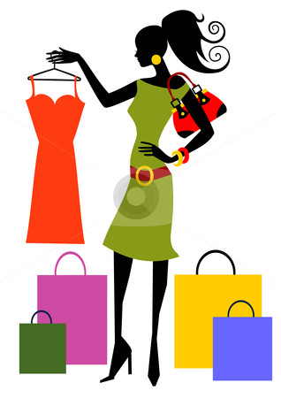 Shopping Woman Stock Vector Clipart Woman Looking At Dress Full