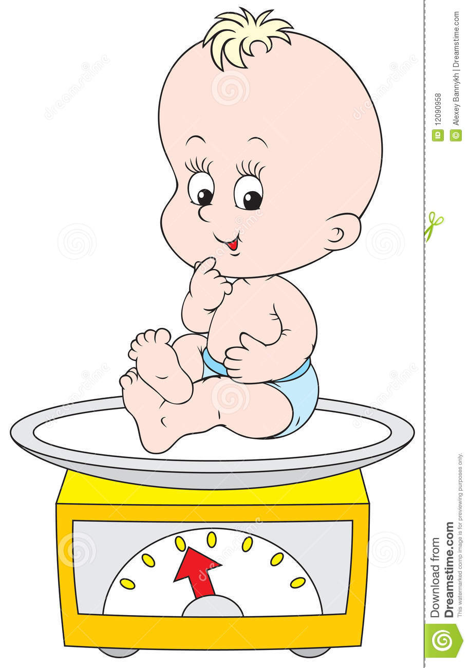 Small Child Weighed On The Scales Royalty Free Stock Photos   Image