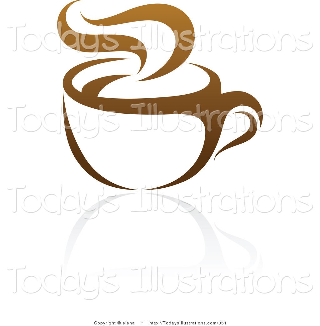 Clipart Of A Brown Steamy Coffee Logo Design Or App Icon On A White