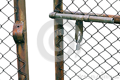 Closeup Of Chain Link Fence Gate Isolated On White Background