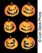 Evil Halloween Pumpkin Icon Set   Pumpkin With Carvings Of