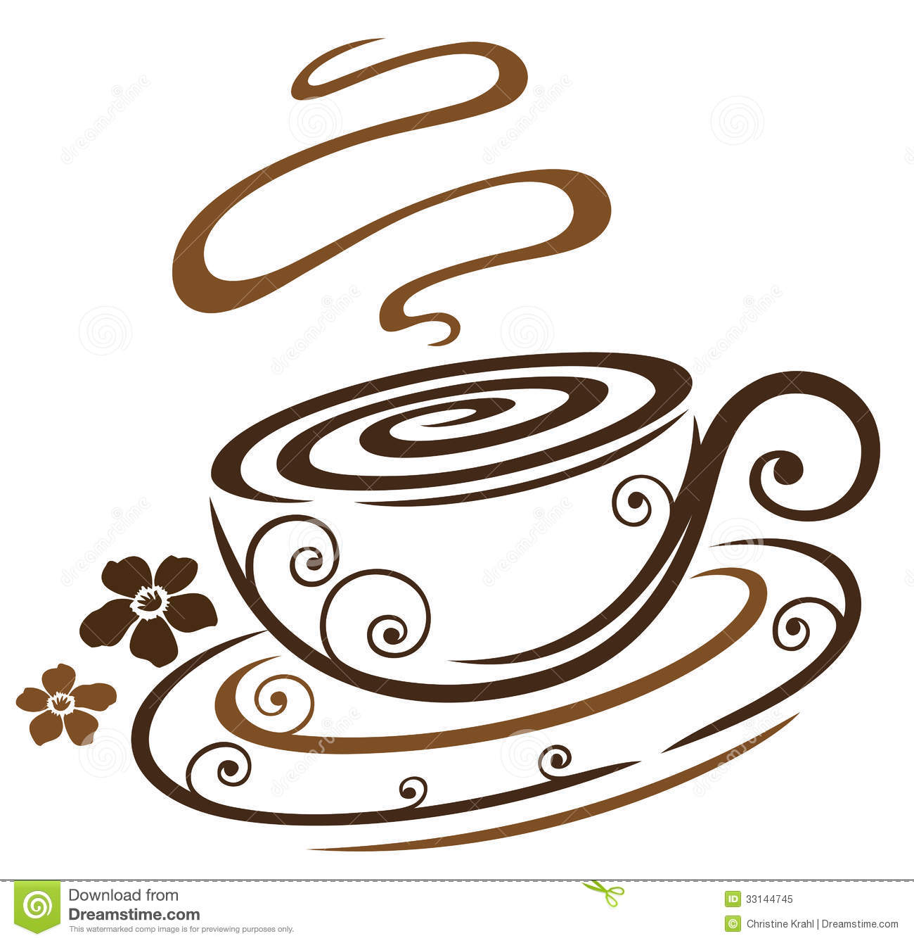 Floral Coffee Cup Royalty Free Stock Photo   Image  33144745