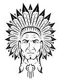 Indian Headdress Clipart Black And White American Indian Chief